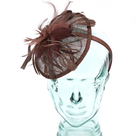 Coffee sinamay headband fascinator accented with feather b8ff96690b8
