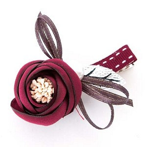 Burgundy Bloom Hair Clip - for all ages