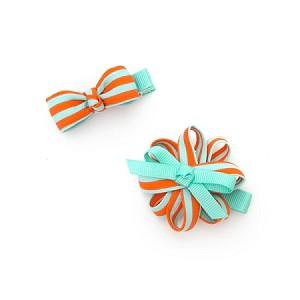 Orange Blue Stripe Grace Hair Clip - for girls