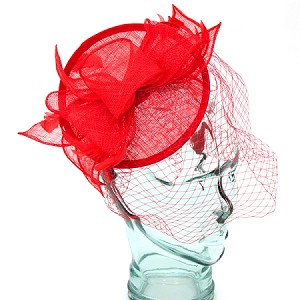 Red Mary Fascinator - for women