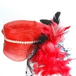 Red Amanda Fascinator - for women