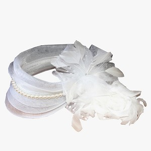 White Amanda Fascinator - for women