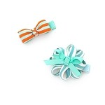 Orange Blue White Stripe  Grace Hair Clip - for girls