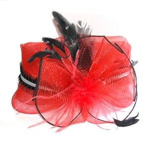 Red Margaret Fascinator - for women
