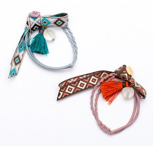 Teal Orange Tessa Pigtail Holders - for kids
