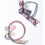 Pink-Grey Tessa Pigtail Holders - for kids