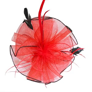 Red Zoe Fascinator - for women
